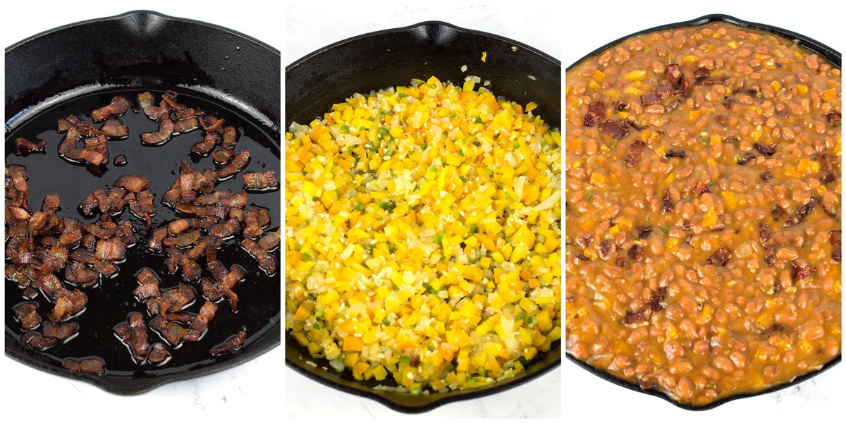 Three steps in doctoring up canned baked beans with homemade flavor.