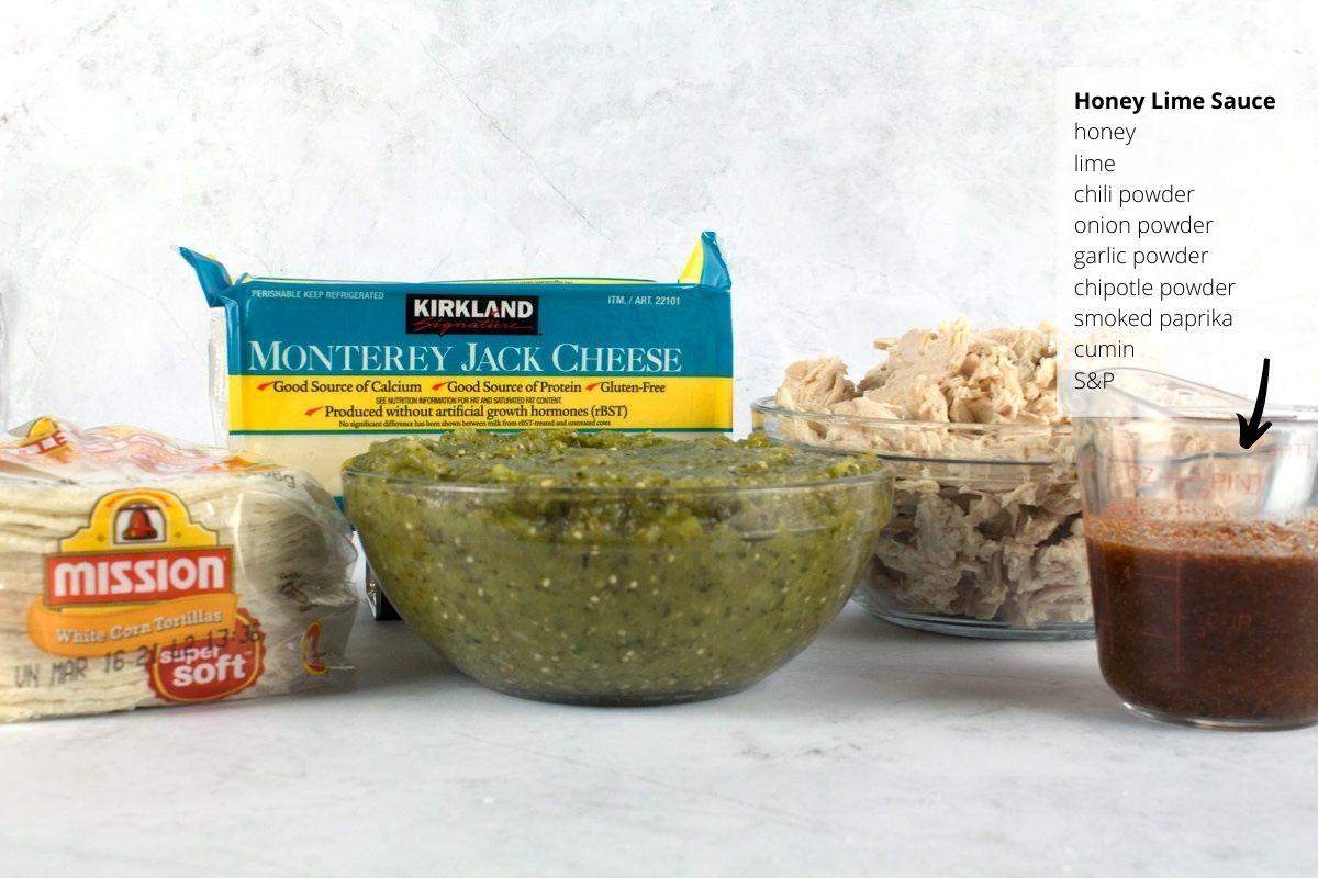 Ingredients for easy green chicken enchiladas.