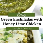 Green enchilada sauce and finished green chicken enchiladas with graphic overlay.