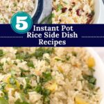 Three rice pilaf images with graphic overlay.