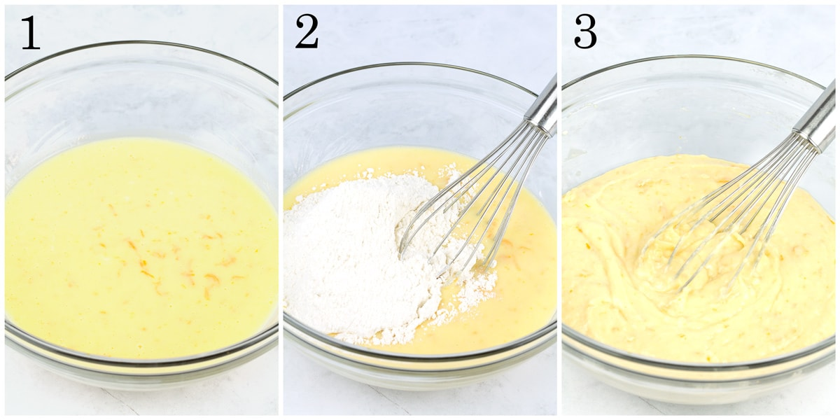 Wet ingredients in a bowl, dry ingredients added, then batter fully combined.