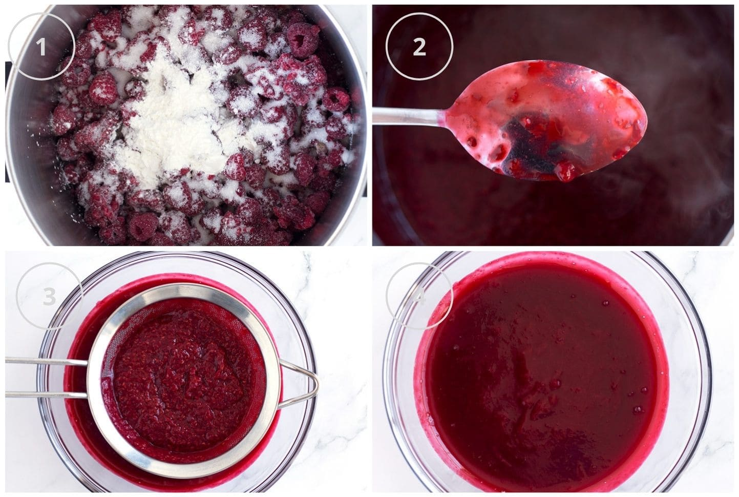 Step-by-step photos of raspberry filling for bundt cake.