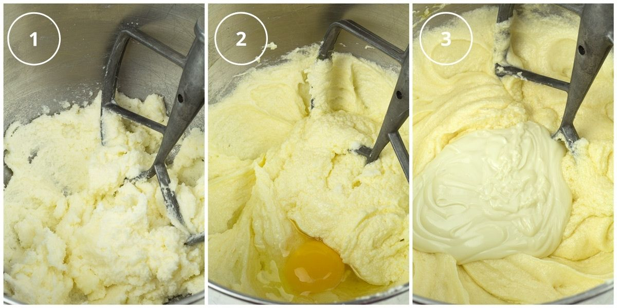 Process of how to make a white chocolate bundt cake batter photos.