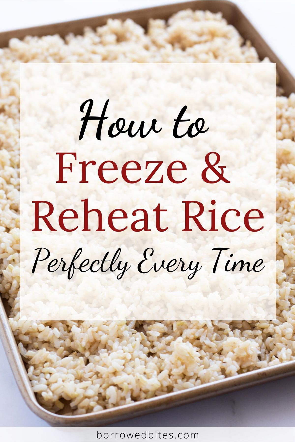 Cooked rice on a sheet pan with text overlay.