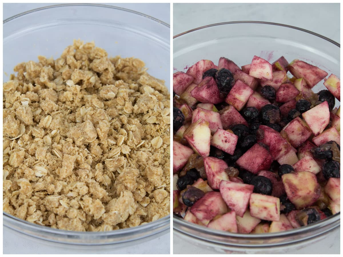 Crumble topping in a bowl and fruit mixture in a large bowl.