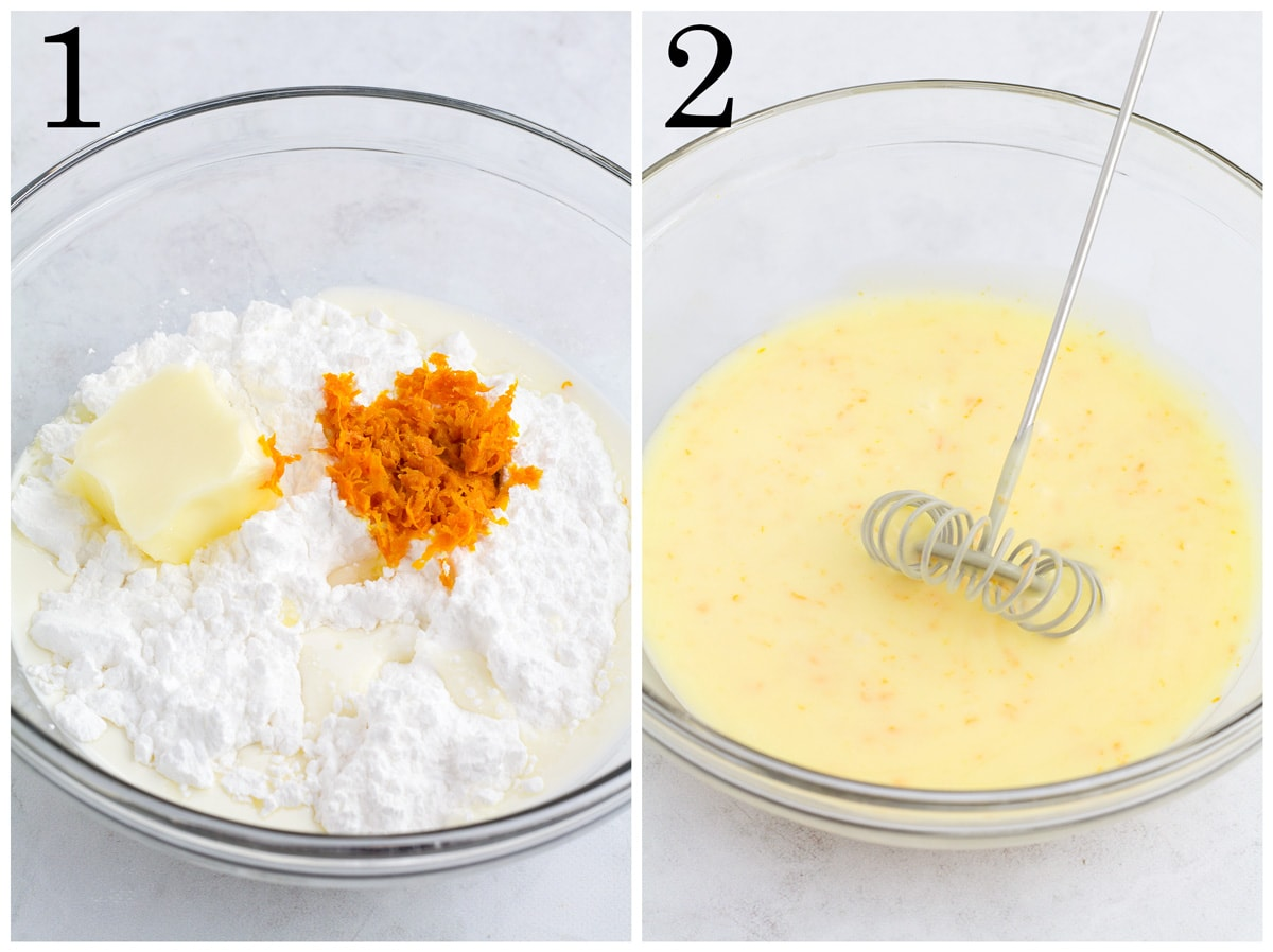 Bowl of orange cake drizzle ingredients before mixing and after mixing.