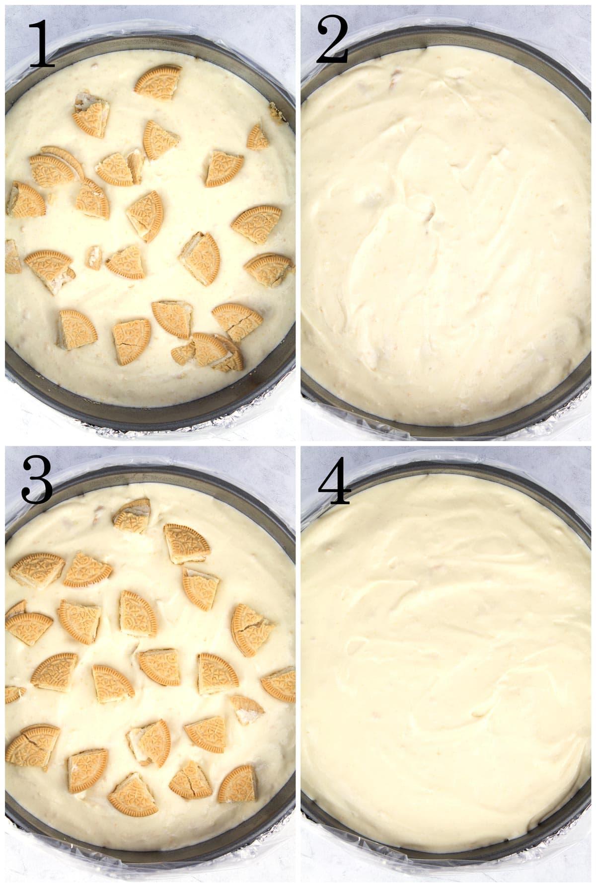Layering the vanilla Oreo cheesecake batter with Golden Oreo chunks.
