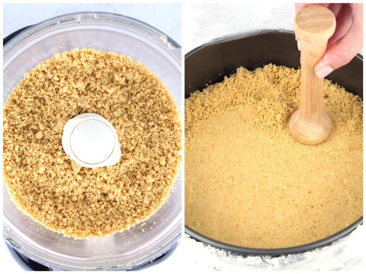 Pulsed crumbs in a food processor and tamper pressing crust into pan.