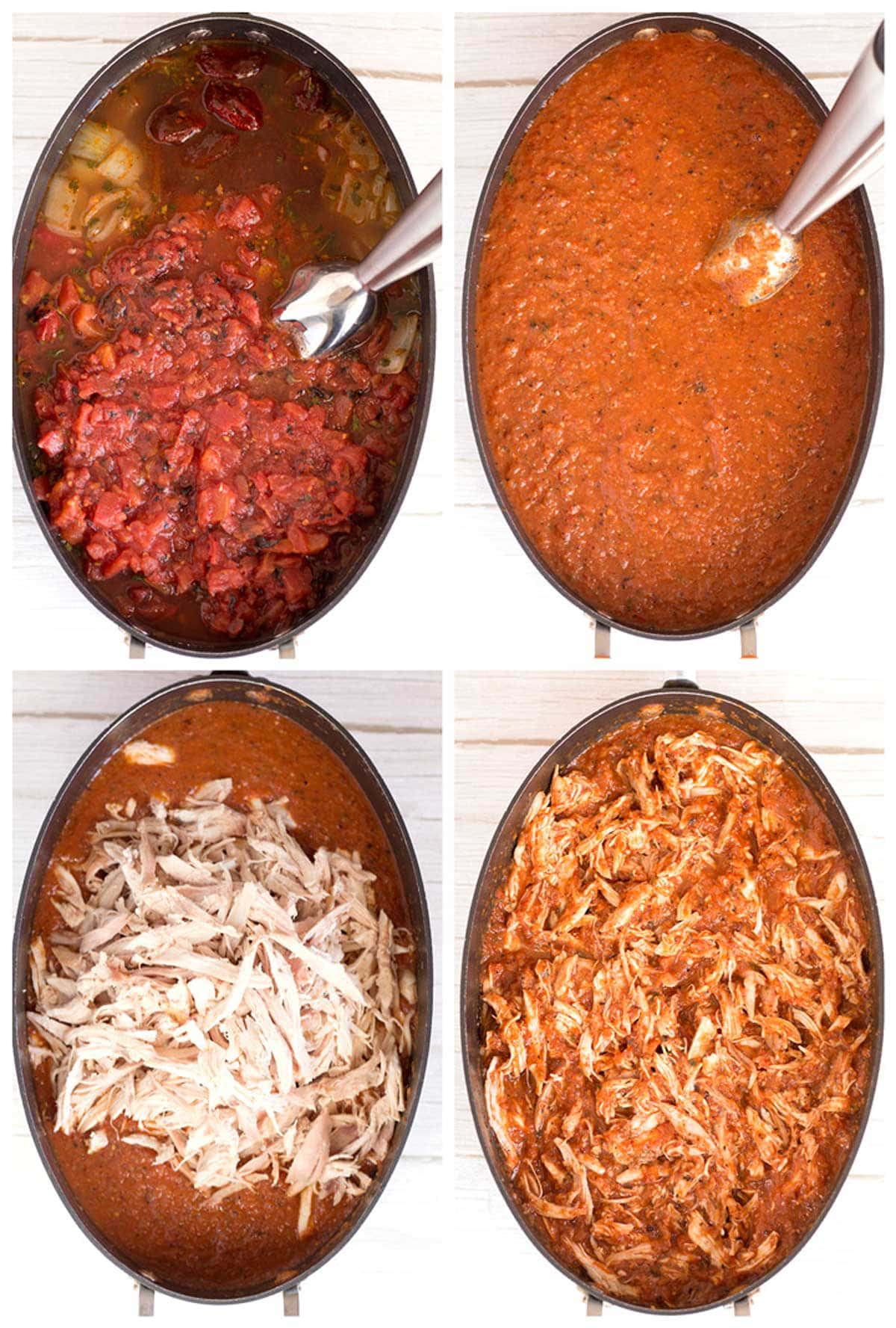 Step-by-step instructions for making tinga sauce with shredded rotisserie chicken.