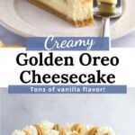 Slice of cheesecake and full cheesecake separated by text overlay.