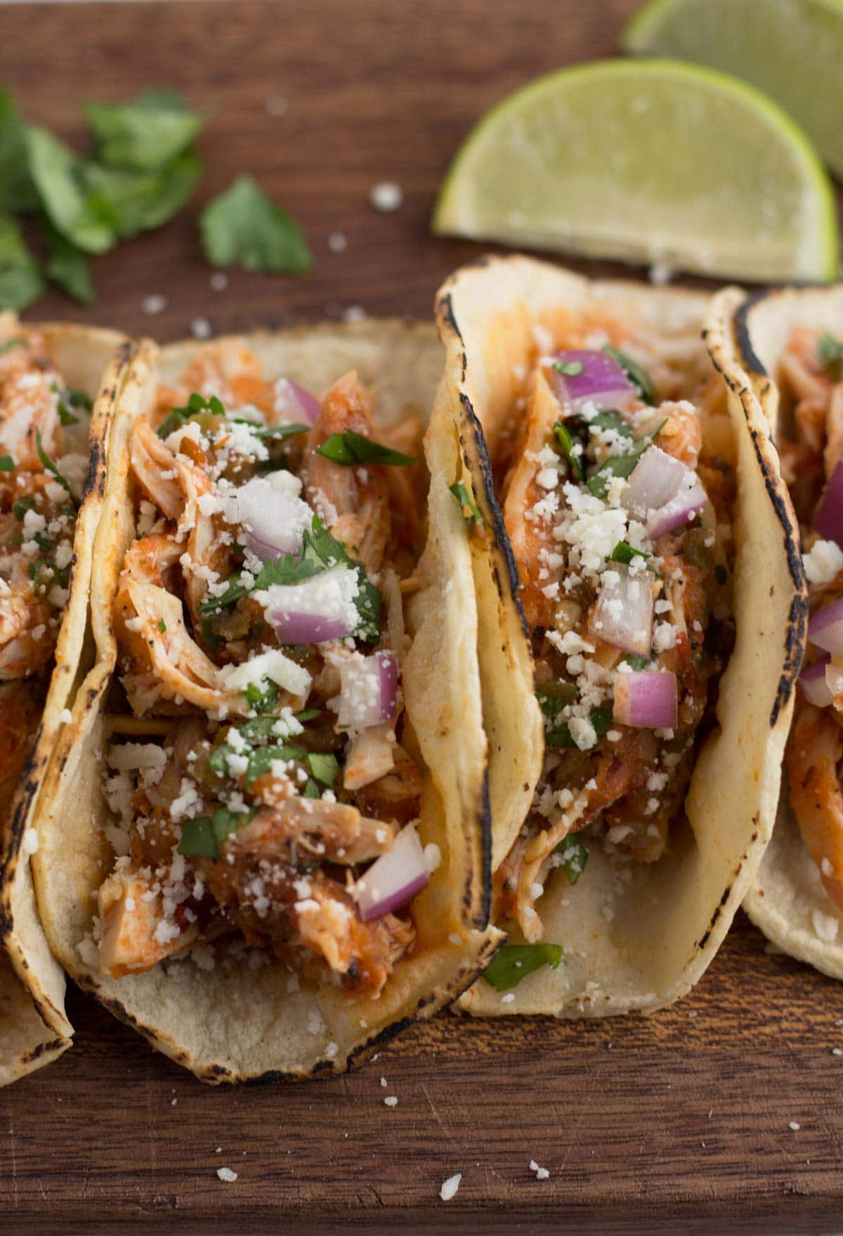 Chicken tacos in a smoky chipotle tomato sauce.