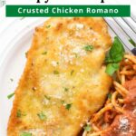 Piece of Chicken Romano on a plate with graphic overlay.