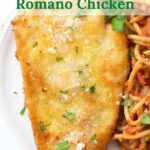 Piece of Romano Chicken on a plate with graphic overlay.