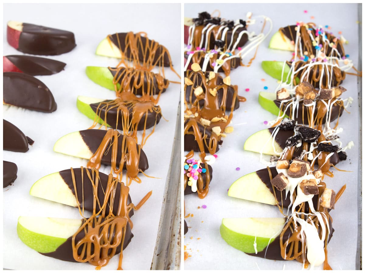 Chocolate-covered apple slices without toppings on the left and with toppings on the right.