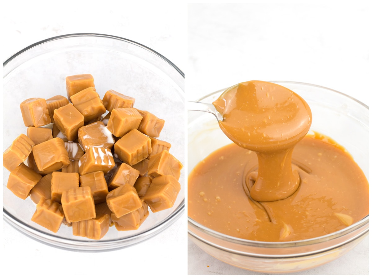 Fresh caramels in glass bowl before and after melting.