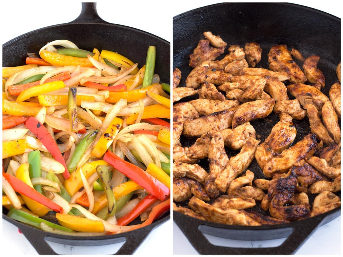 Cooking bell peppers and onions in pan then cooking marinated chicken in skillet.