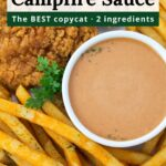 Overhead platter of fries with bowl of campfire sauce and text overlay.